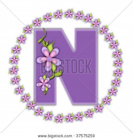 Alphabet Petite Ring Of Petals N