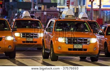 New York City - Sept 17: Times Square, Featured With Broadway Theaters and Taxi Cabs