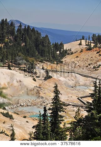 View of Boardwalk at Bumpass Hell, California
