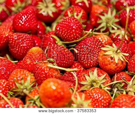 Bunch Of Fresh Strawberries Creating A Texture.