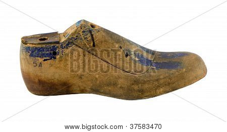 Retro Wooden Shoe Make Mold Form Cobblers Isolated