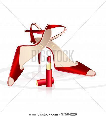 Rote Woman Schuhe mit Lippenstift