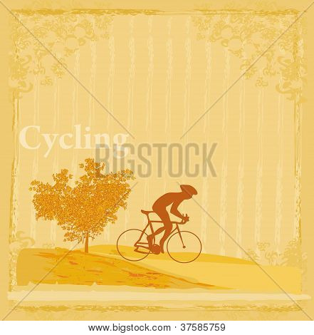 Cycling sport Grunge Poster Template , vector illustartion