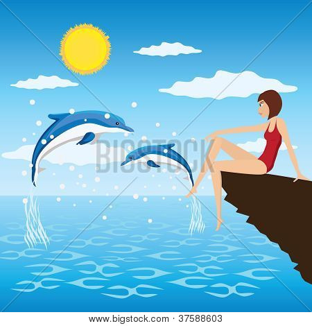 Girl And Dolphins.