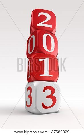 New Year 2013 3D Red And White Box Tower