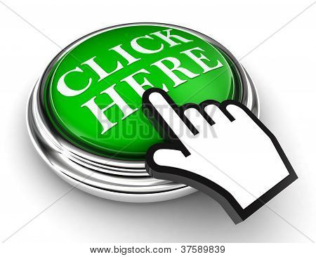 Click Here Green Button And Pointer Hand