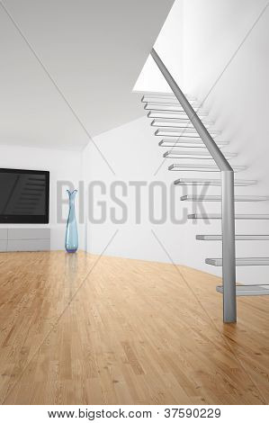 Room With Stairs And Tv