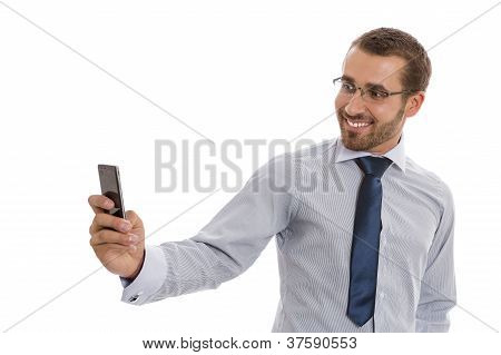 Business Man With Mobile Camera