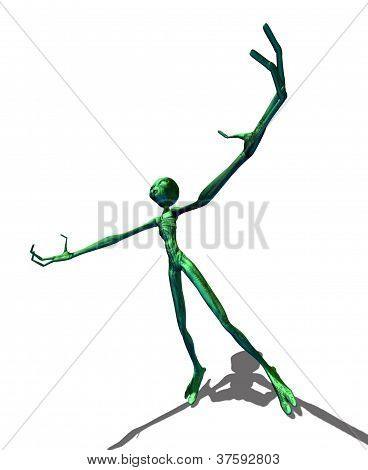 Green Alien With Hands Raised