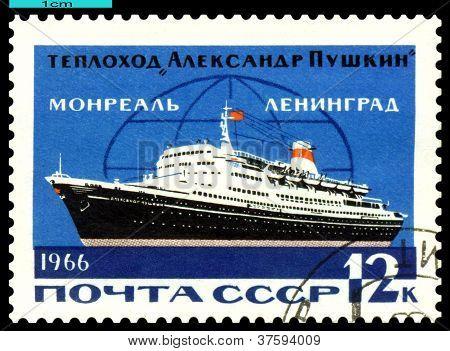 Vintage  Postage Stamp.  Passenger Ship  Alexander Pushkin.