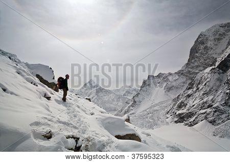 Trekker and halo in Sagarmatha National Park, Nepal