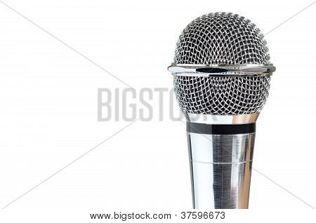 Closeup Of Vintage Microphone Over White Background