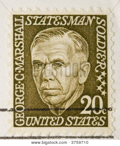 Vintage Us Stamp 1967 George C Marshall