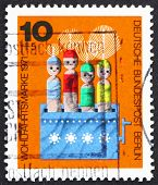 Postage stamp Germany 1971 Movable Dolls in Box