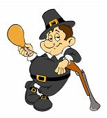 pic of musket  - Hand drawn cartoon of a chubby little pilgrim - JPG