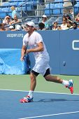Professional tennis player and US Open champion Andy Roddik practices for US Open 2012