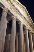 Pantheon Facade In Rome Italy