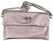 Golden Leather Clutch Bag With Chain Belt