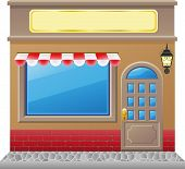 image of awning  - shop facade with a showcase vector illustration - JPG