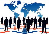 stock photo of person silhouette  - Illustration of business people arrows and map - JPG