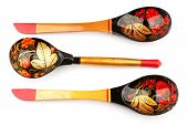 Three painted spoons Russian Khokhloma.