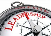 stock photo of indications  - leadership red word indicated by compass conceptual image on white background - JPG