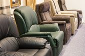 stock photo of showrooms  - Showroom for retail of luxury leather armchairs - JPG
