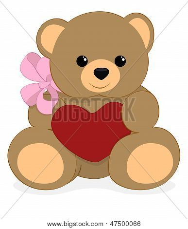 plushy bear with heart and bow