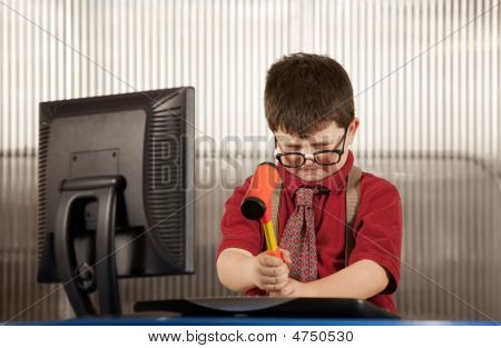 Nerdy Boy Smashing His Computer