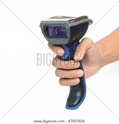 Bluetooth Barcode Scanner Isolated Over White Background