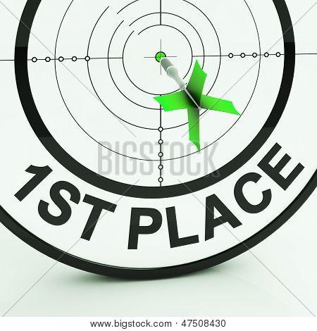 1St Place Shows Triumphant Champion And Success