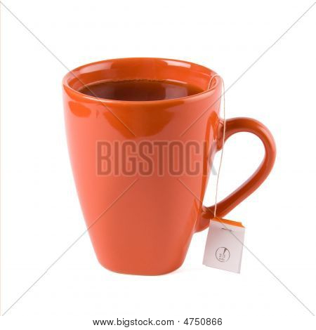 Red Mug With Tea And Tea Bag
