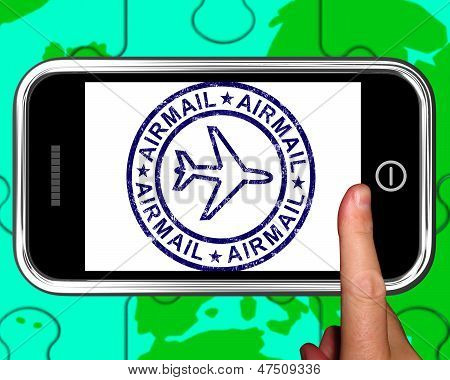 Airmail On Smartphone Showing Air Delivery