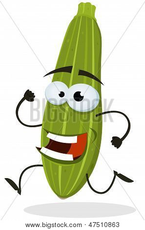 Cartoon Happy Zucchini Character