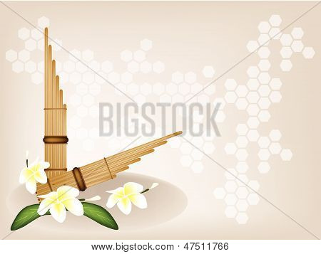 Musical Pan Flute And Plumeria Flower On Brown Background