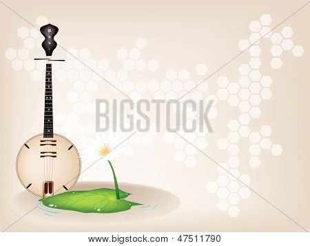 A Musical Brown Dan Nguyet On Brown Stage Background