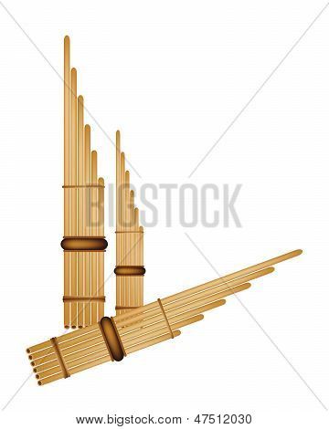 Three Musical Pan Flute Isolated On White Background