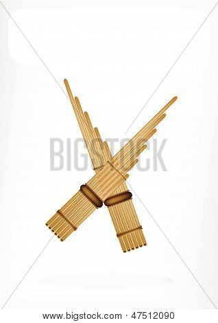Three Musical Pan Flute With A White Banner