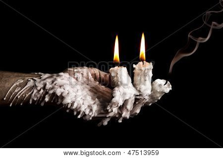 Three Candle Sticks On Fingers Buring Smoulder Artistic Conversion