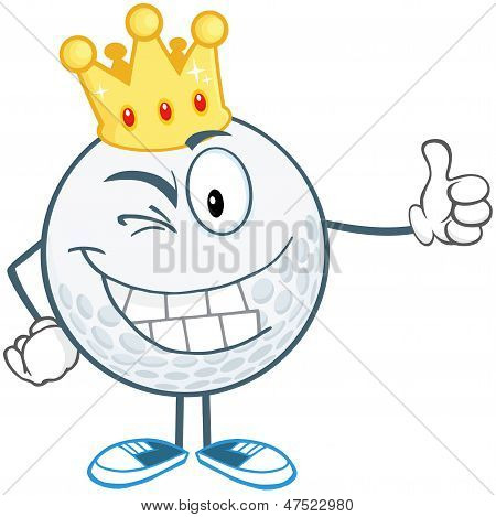 Winking Golf Ball Character With Gold Crown Holding A Thumb Up