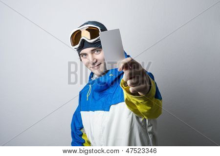 Young Man Holding Blank Lift Pass