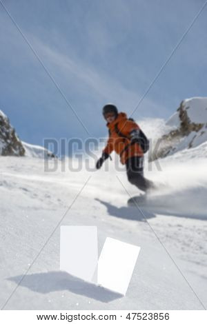 Winter Sport Tickets And Snowboarder