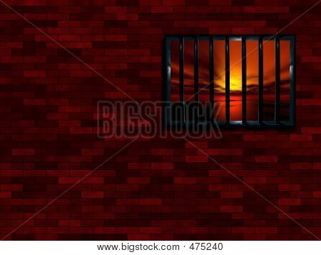 Latticed Prison Window, Sunset Beyond