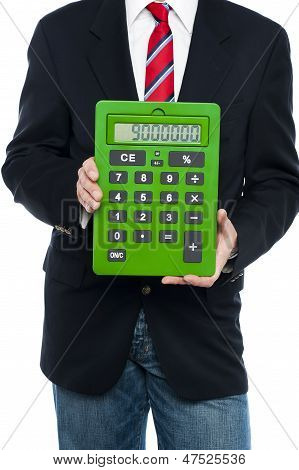 Cropped Image Of Business Guy Holding Calculator