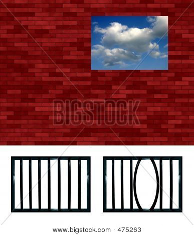 Latticed Prison Window Pattern. Choose Your Grating, Crop And Put In The Hole. Or Put Another View B