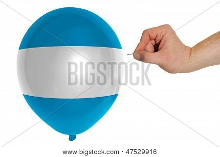 Bursting Balloon Colored In  National Flag Of El Salvador