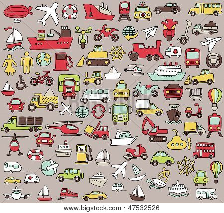 Big Doodled Transportation Icons Collection In Colors