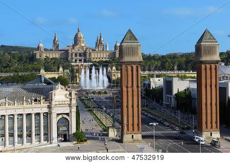 View Of City From National Palace Barcelona, Spain