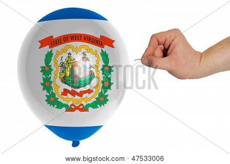 Bursting Balloon Colored In  Flag Of American State Of West Virginia