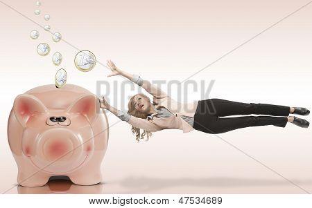 Frau hat Angst um ihre Ersparnisse zu verlieren